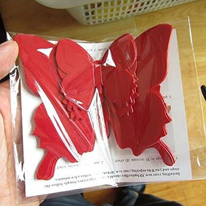 mikolotuk Autocollant Mural 12pcs st/ér/éoscopique Papillon Stickers muraux Vivants Enfants lit Chambre d/écor Rose