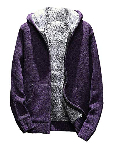 (WillingStart Mens Fall Winter Velvet Outwear Knitted Hood Cardigan Zip-up Sweaters Purple)