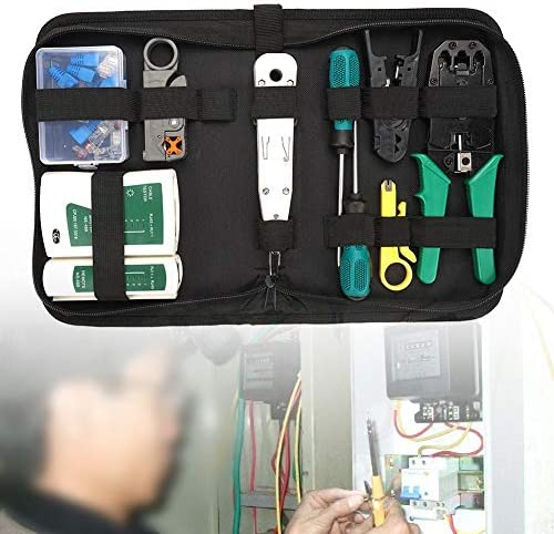 No branded Network Tester Cable Tester Durable Home Steel Crimping Plier Maintenance Professional Network Repair Tool 14pcs