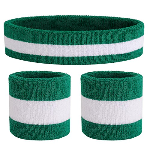 OnUpgo Sweatband Set Sports Headband Wristband Set Sweatbands Terry Cloth Wristband Athletic Exercise Basketball Wrist Sweatband and Headbands Moisture Wicking Sweat Absorbing (Green/White/Green)
