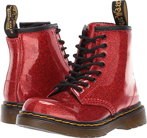 (Dr. Martens Kid's Collection Baby Girl's 1460 Glitter Stars Brooklee Boot (Toddler) Red Glitter Stars Pu 9 M)