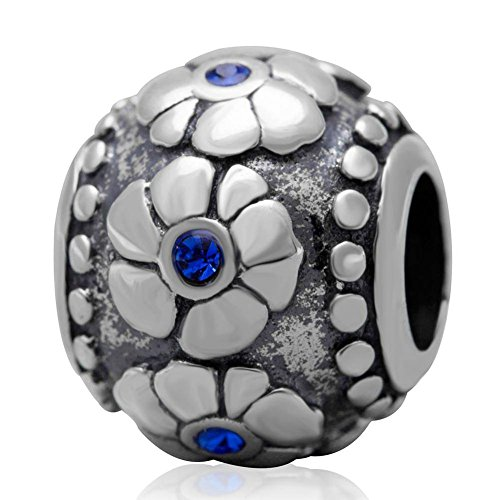 Choruslove Antique 925 Sterling Silver Poppy Flower Charm Round Bead with Sapphire Crystal for Snake Chain Bracelet