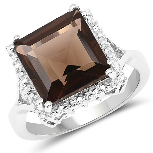 4.63 Carat Genuine Smoky Quartz .925 Sterling Silver Ring (Jewelry Smoky Box Silver Quartz)