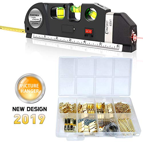 Picture Hanging Kit, Picture Frame Hanger Tool, Laser Level Picture Hanging Measurement Tool, 222 Pieces Photo Hanging Accessories with Picture Hanging Hardware, Hooks, Nails and Wire