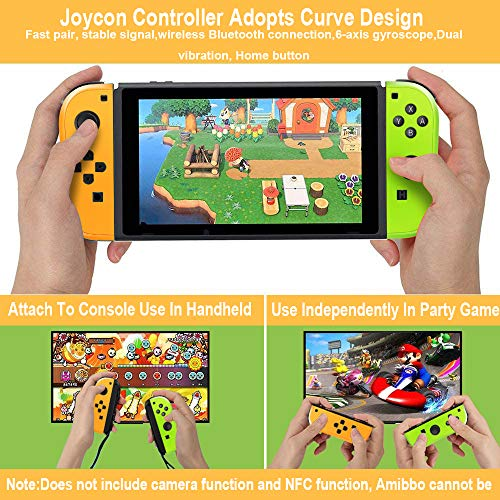 Joy-Con Controller Replacement Wireless Controller for Nintendo Switch,Switch Gamepad with Dual Vibration Motor Gyroscope, with with Strap and Support Wake-up Function(Yellow and Green)
