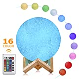 Moon Lamp - 3D LED Moon Light, 16 Colors Hangable Moon Night Light with Stand, USB Rechargeable Decorative Night Light with Remote Control for Kids, Lovers Gift