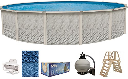 Wilbar Meadows 27 Foot x 52 Inch Round Above-Ground Complete Swimming Pool Kit-Bundle Includes Liner Skimmer Ladder Pump and Filter - 27' Sand