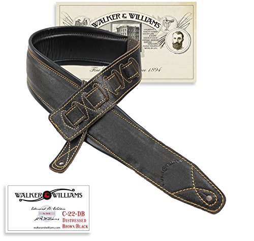 1533999f030 Walker   Williams C-22-DBLK Distressed Black Leather Strap with Double  Padding