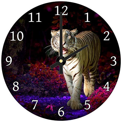 hiusan Pink Blue Forest Tiger Wood Wall Clocks Silent Decorative Living Room,Wall Clocks Non Ticking,for Kids Bedrooms,12in ()