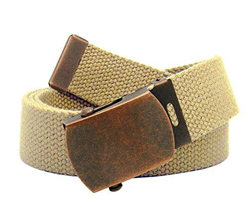 Boys School Uniform Antique Copper Slider Military Belt Buckle with Canvas Web Belt