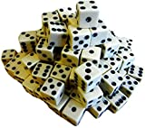 Custom & Unique {Standard Medium 16mm} 100 Ct Bulk Lot Pack Set Set of 6 Sided [D6] Square Cube Shape Playing & Game Dice Made of Plastic w/ Classic Simple Board Game Design [Ivory & Black]