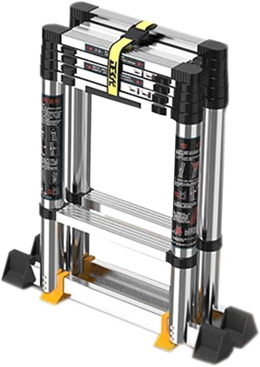 Escalera extensible/ Escalera telescópica Escaleras Escalera telescópica con pasamanos Aluminio Plegable para el hogar, Carga 150 kg, 1.65M (5.4ft) /2M(6.5ft): Amazon.es: Hogar