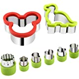 8 Piece Stainless Steel Sandwiches Cutter, Mickey Mouse & Dinosaur Cookie Cutter, Food Grade Biscuit Mold Cookie Cutter for Kids Suitable for Cakes and Cookie