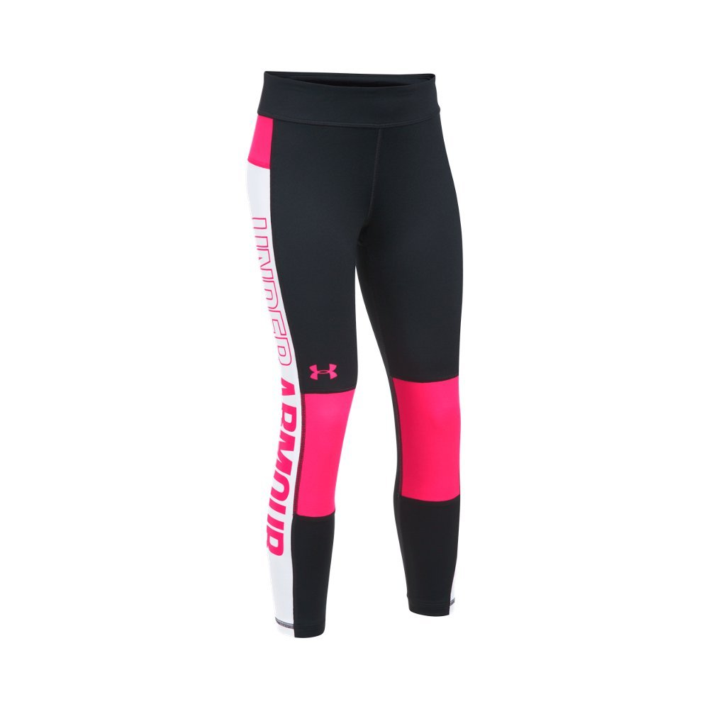 Under Armour Girls' Color Block Crop Capris, Black /Penta Pink, Youth X-Small