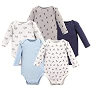 Hudson Baby Baby Infant Long Sleeve Bodysuit 5 Pack, Paper Airplanes, 6-9 Months