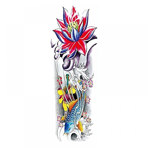 GGSELL Waterproof and non toxic Full arm colorful fish and lotus temporary tattoos for men and women