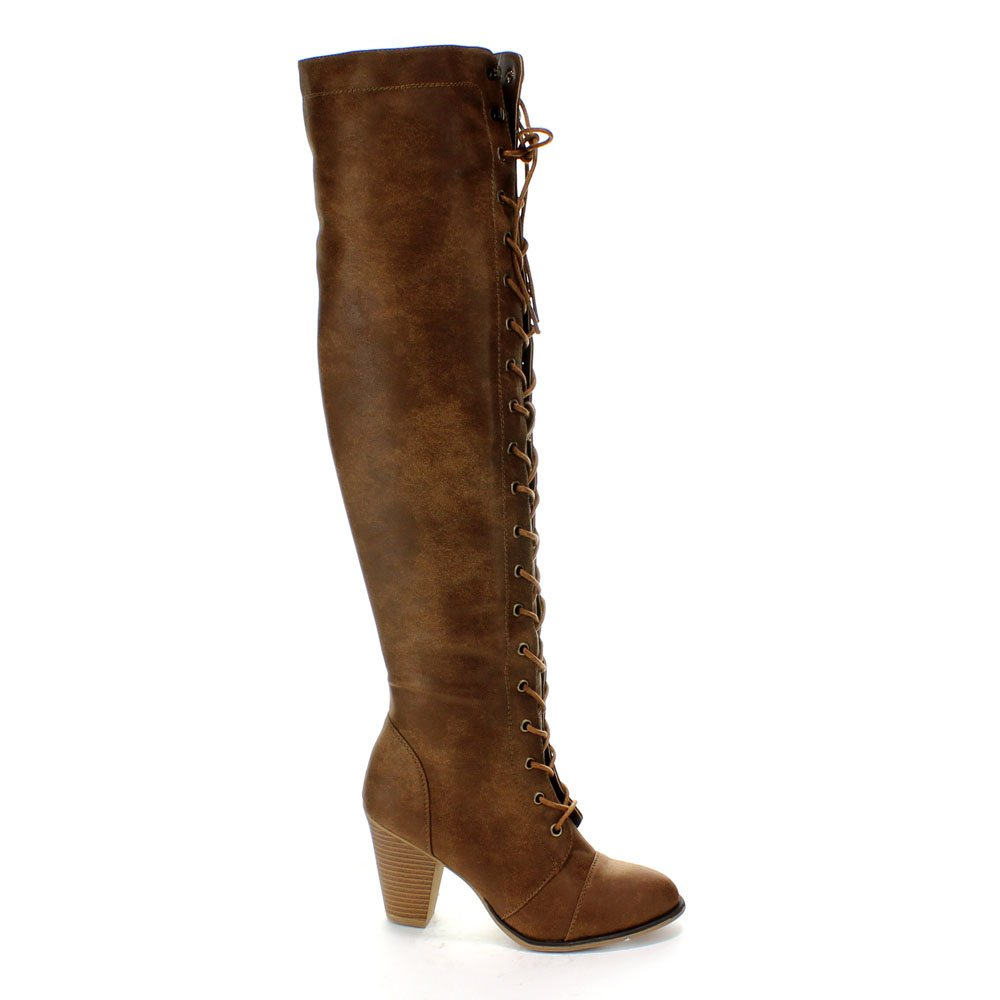 e6f951ab84d Forever Women's Chunky Heel Lace up Over-The-Knee High Riding Boots ...