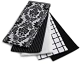 Ritz 5-Piece Egyptian Flat Kitchen Towel Set, Vintage Damask Black