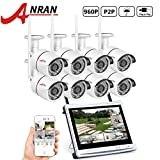 ANRAN 8CH 960P(1280X960) 12″ Monitor Wireless NVR Video Security Camera System with 8 HD 1.3MP WIFI Weatherproof 65ft Night Vision Bullet IP Cameras Plug and Play NO Hard Drive For Sale