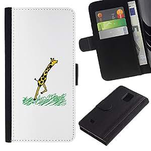 YiPhone /// Tirón de la caja Cartera de cuero con ranuras para tarjetas - Jirafa divertida COMIC - Samsung Galaxy Note 4 IV