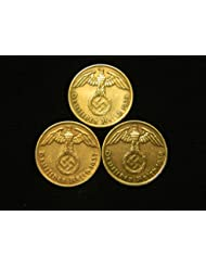 Three Bronze German Third Reich Reichspfennig Coins, 1939A, 1938A & 1937A