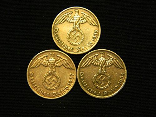 Three Bronze German Third Reich Reichspfennig Coins, 1939A, 1938A & 1937A
