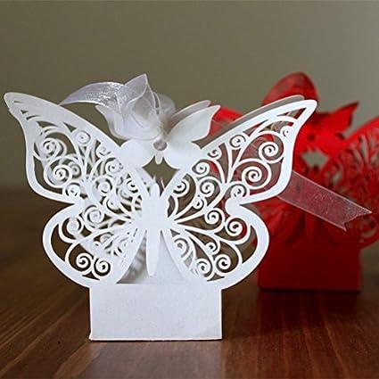 ULTNICE 50pcs Folable mariposa 3D cajas de regalo de dulces para fiesta de boda con cintas