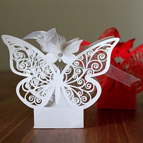 ULTNICE 50 Stü ck Folable 3D Schmetterling Candy Geschenkkartons fü r Hochzeitsparty mit weiß en Bä ndern