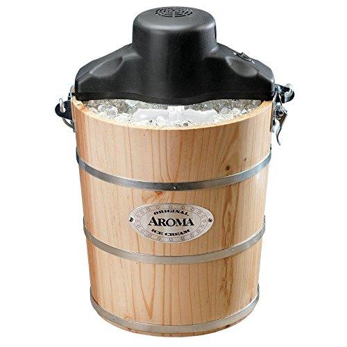 (AROMA 6 Qt. Wood Barrel Ice Cream Maker)