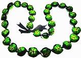Aloha Passion Hawaiian Style Kukui Nut Lei, Hand Painted Green Hibiscus 32 Inches