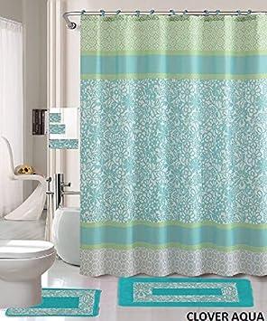 18 piezas Juego de alfombra de baño Aqua azul verde impresión baño alfombra cortina de ducha/anillos y toallas sets-clover Aqua: Amazon.es: Hogar