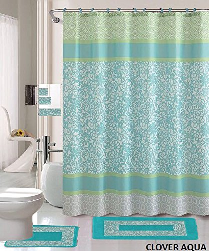 18 Piece Bath Rug Set Aqua Blue Green Print Bathroom Rugs Shower Curtain Rings And