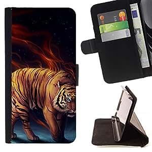 Momo Phone Case / Flip Funda de Cuero Case Cover - Tiger Cat Power Fierce - Huawei Ascend P8 (Not for P8 Lite)