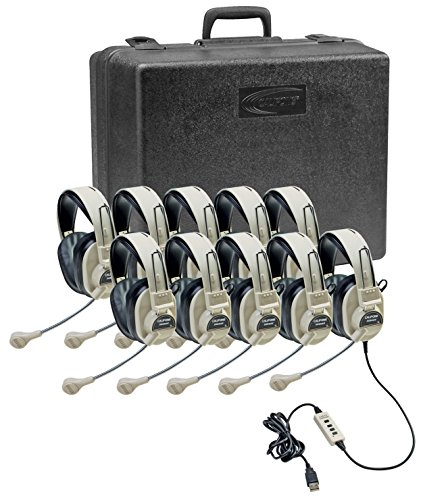 Califone 3066USB-10 Multimedia Headset Kit (10 Headsets with Storage Case) ()