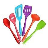 6-Piece Silicone Cooking Set - 2 Spoons, 2 Turners, 1 Spoonula / Spatula & 1 Ladle - Heat Resistant Kitchen Utensils (Multicolor)
