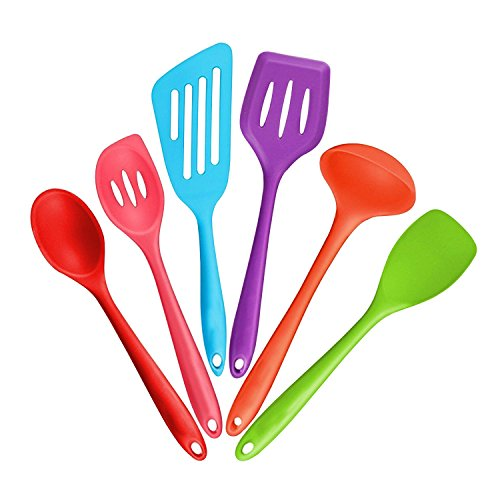 Burgundy Large Place Knife (6-Piece Silicone Cooking Set - 2 Spoons, 2 Turners, 1 Spoonula / Spatula & 1 Ladle - Heat Resistant Kitchen Utensils (Multicolor))