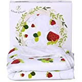 Bamboo Hooded Baby Bath Towel - Luxury Spa Super Soft for Sensitive Skin - Strawberry, 2 Layers Reversible-Absorbent Keep Dry&Warm-Antibacterial,Hypoallergenic-Perfect Shower Registry Gift