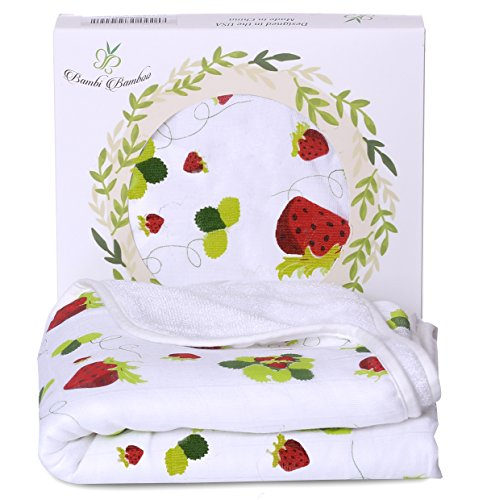 Bamboo Hooded Baby Bath Towel - Luxury Spa Super Soft for Sensitive Skin - Strawberry, 2 Layers Reversible-Absorbent Keep Dry&Warm-Antibacterial,Hypoallergenic-Perfect Shower Registry Gift by Bambi Bamboo