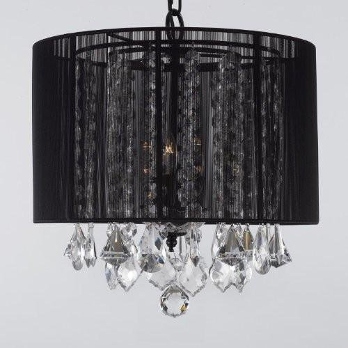 (Crystal Chandelier Chandeliers With Large Black Shade! H15