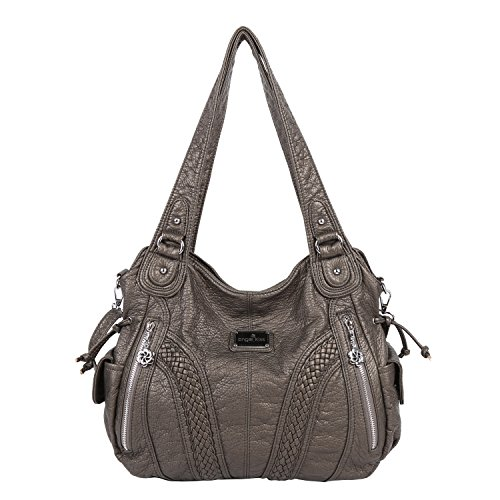 Angelkiss Women Top Handle Satchel Handbags Shoulder Bag Messenger Tote Washed Leather Purses Bag (Pewter)