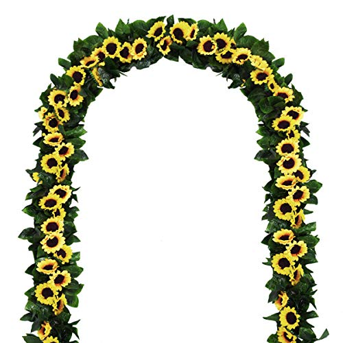 2 Pack Artificial Sunflower Garland Silk Sunflower Vine Artificial Flowers with Green Leaves Wedding Table Decor