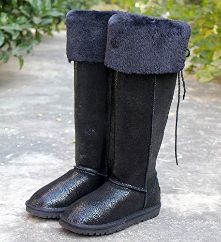 AGECC Lange Stiefel Wasserdichtes Leder Knie Schneestiefel Schneestiefel Schneestiefel Super Hohe Röhre Schöne Beine Dünne Und Warme Stiefel.  84b3e8