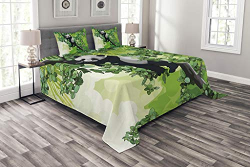 - Lunarable Jungle Bedspread Set Queen Size, Cute Panda Bear Sleeping on Tree Branches in Rainforest Image, Decorative Quilted 3 Piece Coverlet Set with 2 Pillow Shams, Lime and Fern Green Black White