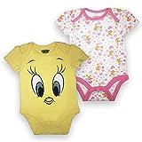 Looney Tunes Baby Girls Newborn Infant Tweety Bird 2 Pack Bodysuit Onesie Yellow and White 6-9 Months