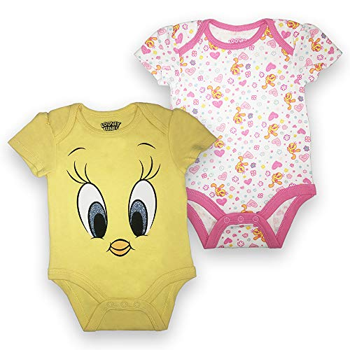 - Looney Tunes Baby Girls Newborn Infant Tweety Bird 2 Pack Bodysuit Onesie Yellow and White 0-3 Months
