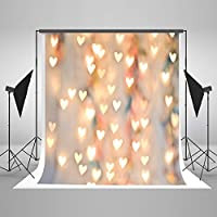 Kate 7x5ft(2.2x1.5m) Newborn Photography Backdrops for Photographers Cotton No Wrinkle Seamless Collapsible Orange Wall with Golden Heart Light for Children Photo Backdrop