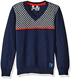 GUESS Little Boys\' Long Sleeve V Neck Sweater, Ink Blue, 6X/7