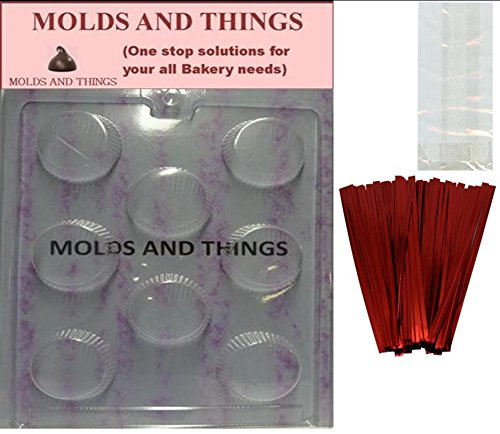 LARGE PEANUT BUTTER CUP Chocolate Candy Mold With © Molding Instruction + 25 set of packaging Kit