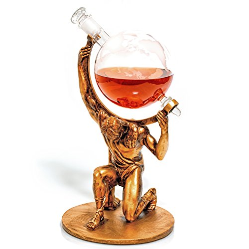 (Atlas Etched Globe Liquor Decanter - Whiskey Decanter -1000ml- Anniversary Gift for Couple, Unique Retirement Gifts for Men & Women, Father's Day Gift for Husband (Atlas: Bearer of Worldly Spirits))