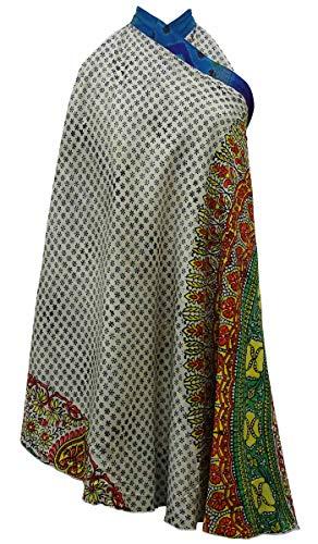 Vintage rversible Imprimer Soie Les Check Pure Wrap Saree Crme Dress Femmes Beach Summer Rouge Indianbeautifulart q8FYxSw8